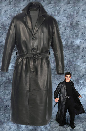 "Reed® 52"" Belted - Long Leather Trench Coat (Lambskin)"